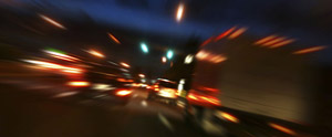 depiction of what a drunk driver sees when driving at night