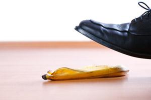 Slippery banana peel