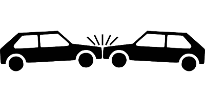 two clipart cars in a front end collision