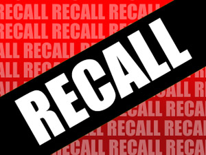 recall spelled with white letters over a black box and red background